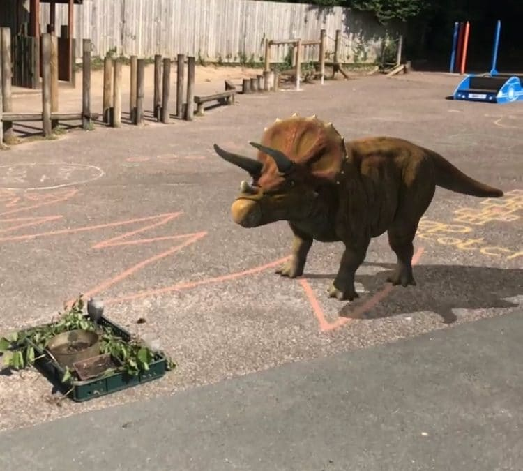 Trevor the dinosaur visits our school